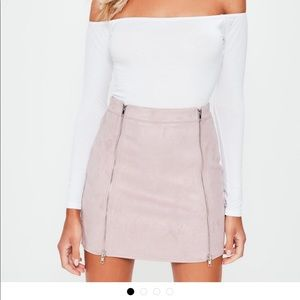 MISSGUIDED MAUVE DOUBLE ZIP SKIRT